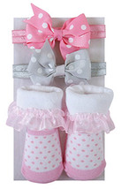 Stephan Baby Polka Dot Set Grey Pink Headband Ruffle Sock Set 3-12 Mo 3 ... - $14.95