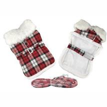 Plaid Fur-Trimmed Dog Harness Coat - Red and White - $39.99