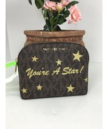Michael Kors Cosmetic Bag  'You're A Star' Logo Brown Pale Gold Dome Zip M4 - $88.19