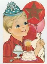 Vintage Birthday Card Boy with Cake Ice Cream Balloons 1960's Hallmark E... - $8.90