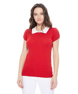Red & Ivory Short Sleeve Knit Top - Peter Pan Collar Retro - S to L -Hey... - $24.00