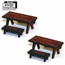 28mm Furniture: Short Trestle Table x2, Short Benches x4 (medium wood)