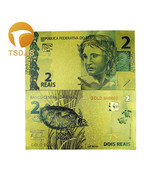 Colorful Gold Banknote 24k Gold Plated Brazil 2 Reals Gold Foil Banknote - ₨366.70 INR