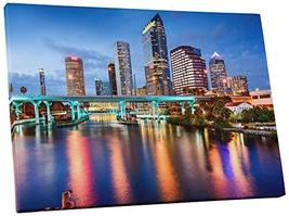 "Pingo World 0429QB2QAGS ""Tampa Downtown Night Skyline"" Gallery Wrapped Canvas Wa - $57.37"