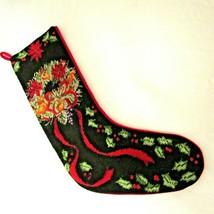 Vintage Needlepoint Christmas Stocking Wreath Holly Black Red Velvet  - $19.79