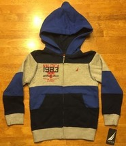 NWT Nautica Boy's Gray & Blue Striped Full Zip Hooded Sweatshirt Hoodie ... - $20.00