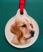 GOLDEN RETRIEVER DOG CHRISTMAS SCULPTED CERAMIC ORNAMENT HOLIDAY Xpres - $8.95