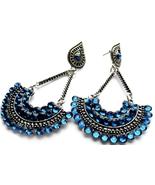 Blue Fan Earrings, Blue Earrings, Boho Chic, Post Dangle, Fan Earrings, ... - $26.00