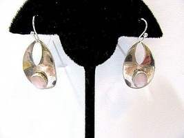 Sterling Silver Signed Dangle Earrings Tribal Gypsy Pink White Shell Vintage Mf - $20.00