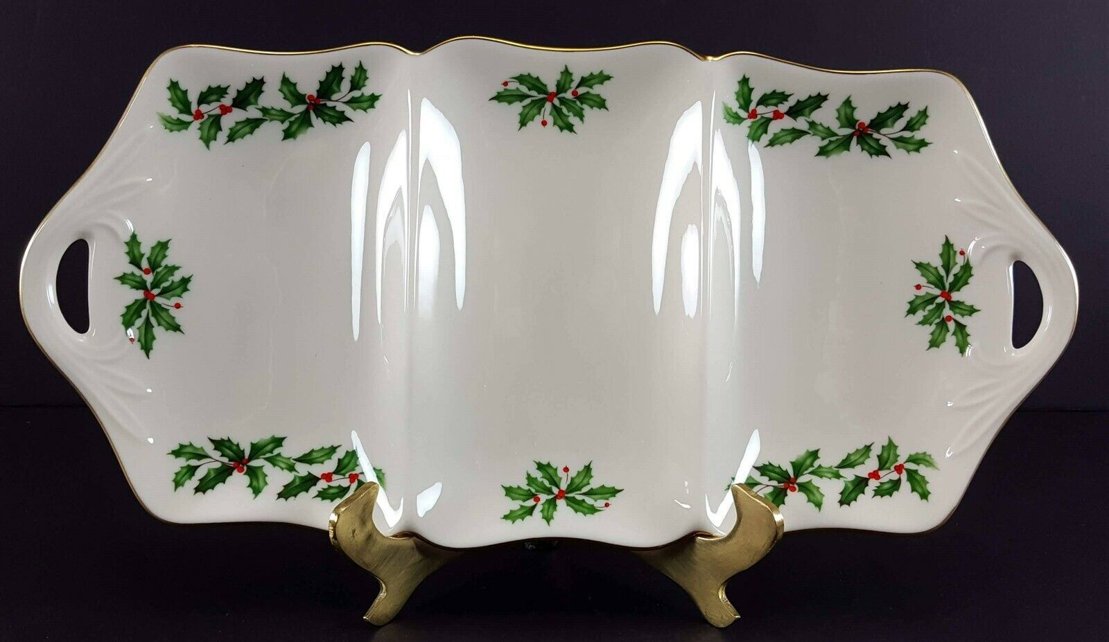 """LENOX China Holiday Dimension 3 Part Utility Serving Tray 13-3/8"""" Dinnerware"""