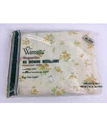 VTG Sealed NEW Twin Fitted Bed Sheet Wamsutta Superlin Yellow Rose Flora... - $17.62