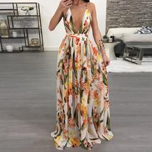 Women Dresses Summer Sexy Maxi Boho Style Print Party Dress Deep V Neck ... - $49.99