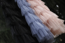 Women Black Tiered Tulle Skirt Full Long Black Tulle Layered Skirt Plus Size image 13