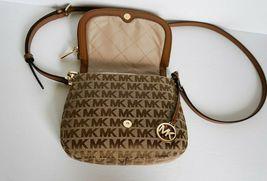 Michael Kors Bedford Small Flap Crossbody Jacquard Leaher Bag MK Beige Brown image 6