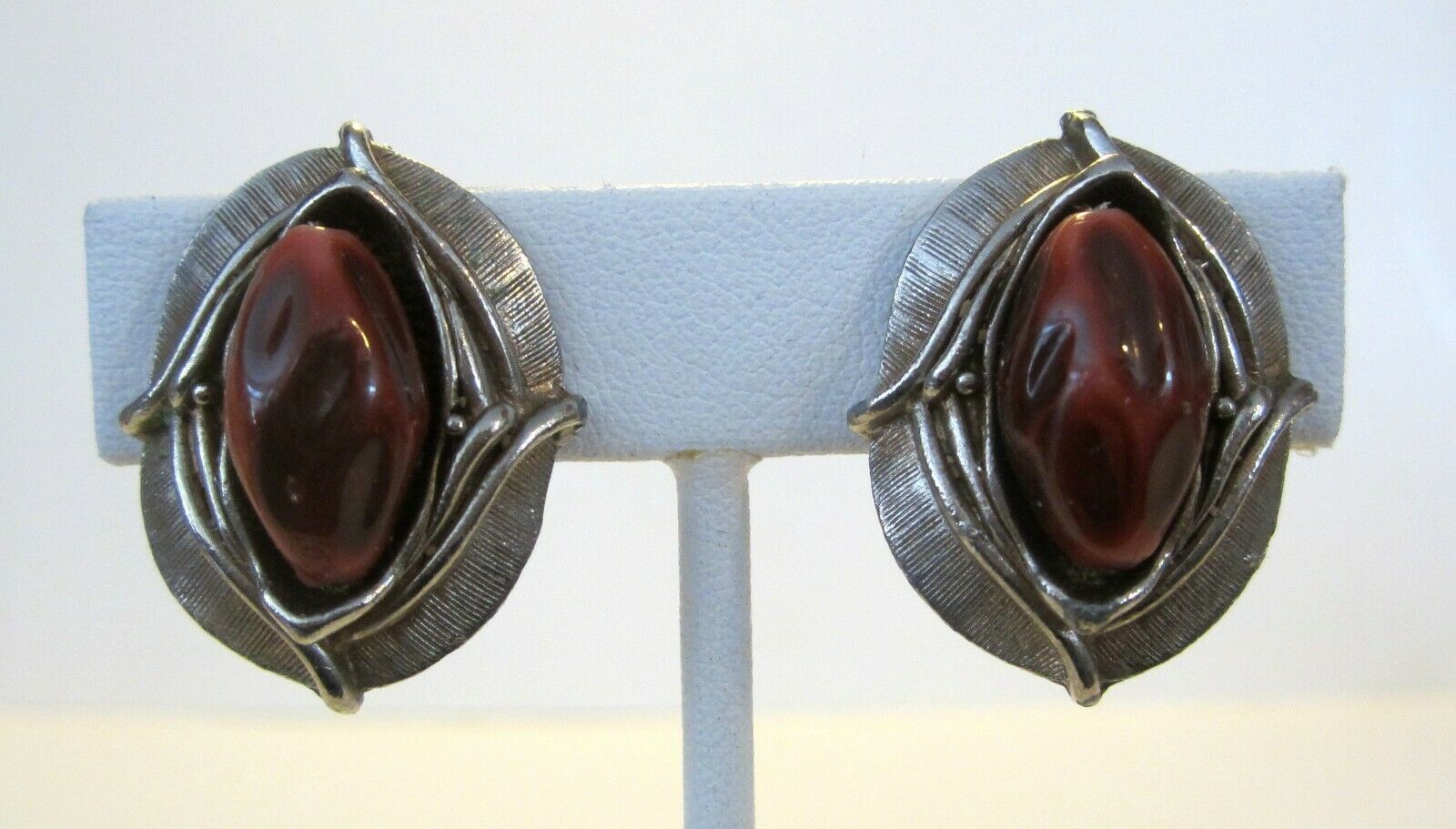 Primary image for 1960's Faux Brown Burgundy Plastic Stone & Gold Tone Clip Earrings