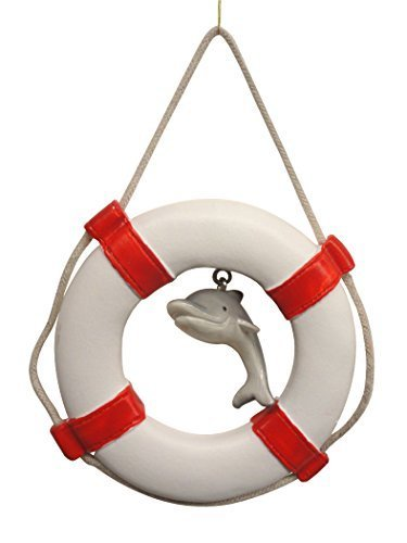 Life Ring Christmas Ornament with Hanging Embellishment (Dolphin)