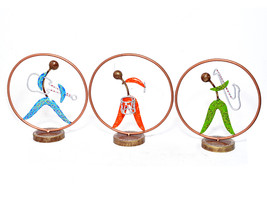 Set of 3 Multi Color Ring Musician Lady Metal Table Top Statue for Home Decor - $73.95