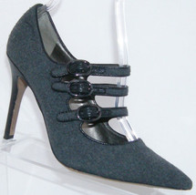 Sam Edelman 'Peyton' gray wool triple buckle mary jane pointed toe heel 6M - $37.08