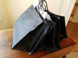 Set of Four (4) Black w/ White Tissue Paper Gift Bags (NWD) - $9.85