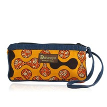 Authentic Hand Made Denim and African Textile/Fabric Wristlet (Saffron B... - $23.75