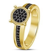 Solid Sterling Silver 18k Yellow Gold Plated Round Cut Black CZ Engageme... - $95.34 CAD