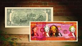 MARILYN MONROE RED Rency / Banksy Pop Art $2 Bill - Signed by Artist #/7... - $28.71