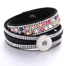 Boom Life 2019 New Snap Button Jewelry Leather 18mm Snap Button Bracelet Punk Mu - $11.74