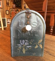 Vintage Shabby Cottage Style Mailbox  Old Stenciled Mailbox  Teal Color ... - $45.00