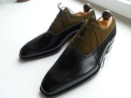 Handmade Men's Black & Brown Heart Medallion Leather & Suede Oxford Shoes image 4