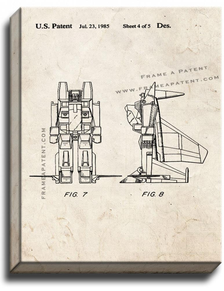 Primary image for Reconfigurable Toy Plane Patent Print Old Look on Canvas