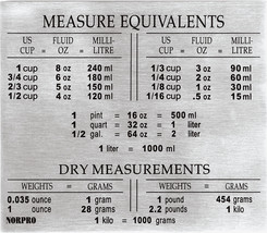 Norpro 3062 Stainless Steel Measure Equivalents Chart Magnet - €6,43 EUR