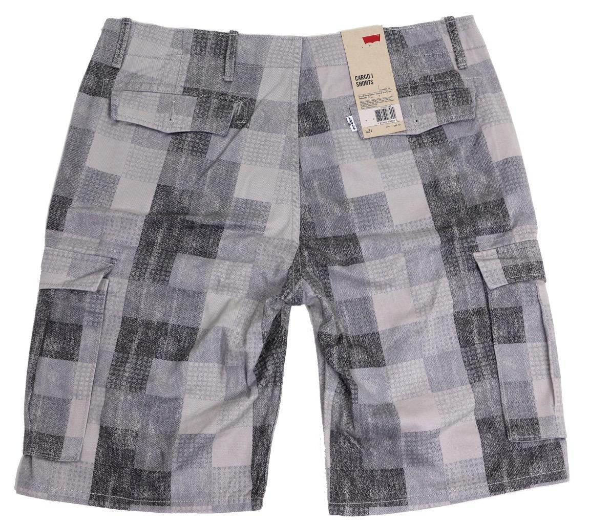 NEW LEVI'S MEN'S PREMIUM COTTON RELAXED FIT CARGO SHORTS GRAY PLAID 124630293