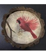 Cardinal in Flight wood slice magnet - $15.00