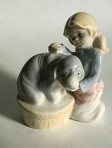 "Kneeling Little Girl and Dog Porcelain Ceramic Figurine 4X3X2.5"" - $11.63"