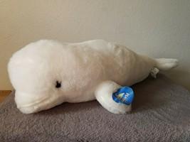 Sea World Beluga White Whale Plush Stuffed Animal Tag Souvenir Realistic... - $24.73
