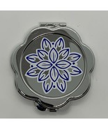 Flower Vinyl Decal Metal Compact Cosmetic Mirror Case Mothers Day Gift - $4.95