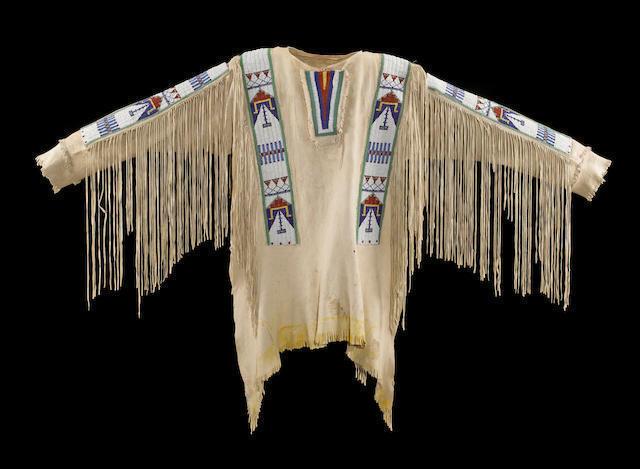 Mens Native American Buckskin Beige Buffalo Suede Leather Beads War Shirt WS138 image 4