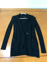 Women's Guess Black Pullover Trench Sweater Top Size S Small 100% Cotton - $9.89