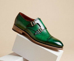 Handmade Men's Green Leather Double Buckle Monk Strap Dress/Formal Lather Shoes image 4