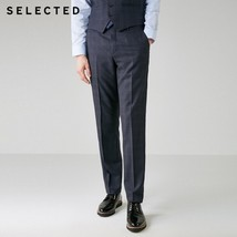 "SELECTED Men""s Woolen Plaid Straight Regular Fit Suit Pants T