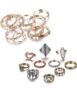 Gmai Bohemian Vintage Women Crystal Joint Knuckle Nail Ring Set of 10 pc... - $14.24