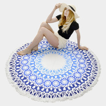 Round Beach Towel Blue Ethnic Print Poncho with Tassel Trim 335733 - $37.47 CAD