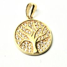 Pendant Tree Of Life in Gold 18k 750 YELLOW WITH ZIRCONIA MADE IN ITALY image 3