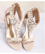 wedding sandals wedges,Gold Wedge shoes,Beach wedding,Girls Bridesmaids ... - £30.95 GBP