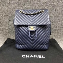 AUTH CHANEL NAVY BLUE CHEVRON QUILTED LEATHER LARGE URBAN SPIRIT BACKPACK SHW