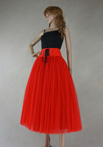 8-Layer Red Tulle Skirt Women High Waist Tulle Outfit Red Maxi Skirt Party Skirt image 3