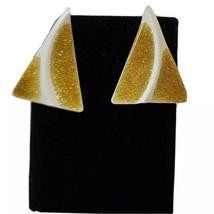 Vintage White Gold Tone Enamel Triangle Shaped Earrings Genuine Diamond ... - $24.19