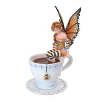 Amy Brown Warm Toes Faery in Coffee Cup Statue Fairy Sculpture Sweet Addictions - $28.99