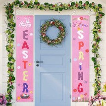 Auihiay Easter Porch Sign - Happy Easter & Welcome Spring - Easter Decor... - $4.99