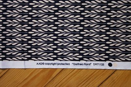"Dorthea Floral Navy Blue Cream Fabric 42"" x 51"" - $13.30"